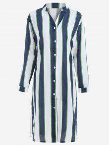 Button Up Striped Maxi Blouse - Cerulean L