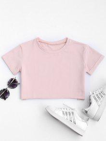 Curled Sleeve Cropped Sports Top - Pink M