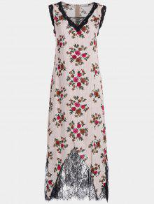 Lace Trim Floral Stripes Maxi Vestido - Rojo Xl