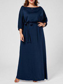 زائد حجم العنق انحراف باتوينغ فستان ماكسي - الأرجواني الأزرق 4xl