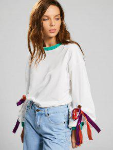 Gathered Sleeve Bowknot Sweatshirt