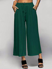 Elastic Waist Culotte Pants - Green S