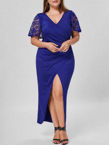 Vestido De Rendas Com Rendas De Rendas De Tamanho Grande - Azul 4xl