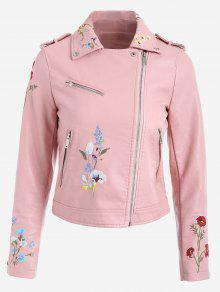 Floral Patched Zippered Faux Leather Jacket - Pink Xl