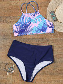 Pintado A Mano Palm Leaf Recortado Top Bikini - S