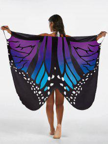 El Abrigo De La Playa De La Impresión De La Mariposa Cubre Encima Del Vestido - Azul+púrpura M