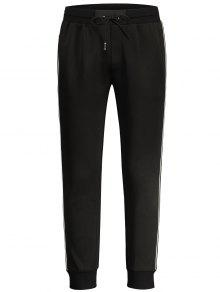 Pantalones Con Tirantes De Rayas Con Contraste De Rayas - Negro M