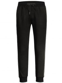 Drawstring Contrast Stripe Jogger Pants - Black Xl