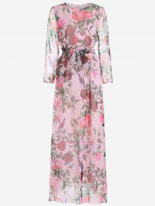 Floral Print Long Sleeve Belted Maxi Dress - Pink Xl