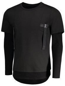 Doble Camiseta Corta Manga Negro L De Manga Con Rx8wB6q