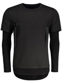 Double-sleeve Low High Hem Sweatshirt - Black M