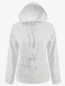 Zip Up Drawstring Hooded Sports Jacket - White S