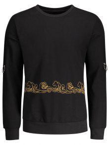 Metal Ring Decor Printed Sweatshirt - Black M