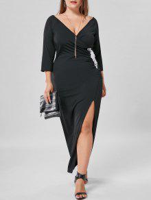 فستان الحجم الكبير ماكسي طويل أبليك جانب الانقسام - أسود 4xl