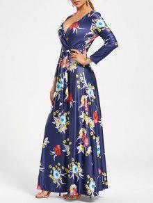 فستان ماكسي طويل طباعة الأزهار كهنوتي الرقبة V - ازرق غامق 2xl