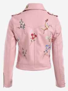 Floral Patched Zippered Faux Leather Jacket PINK: Jackets & Coats ...