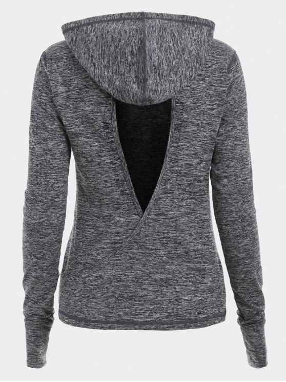 womens Cut Out Back Crossover Heathered Hoodie - GRAY L