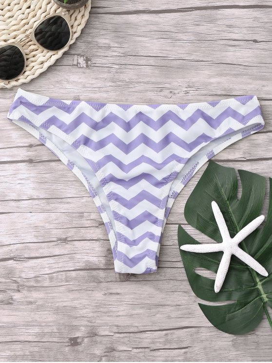 online Chevron Bikini Bottoms - WHITE + PURPLE L