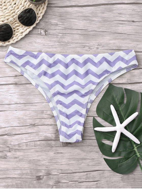 new Chevron Bikini Bottoms - WHITE + PURPLE M