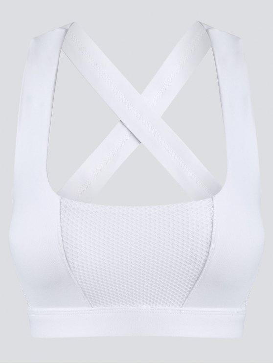 best Mesh Panel Crisscross Cutout Sports Bra - WHITE XL