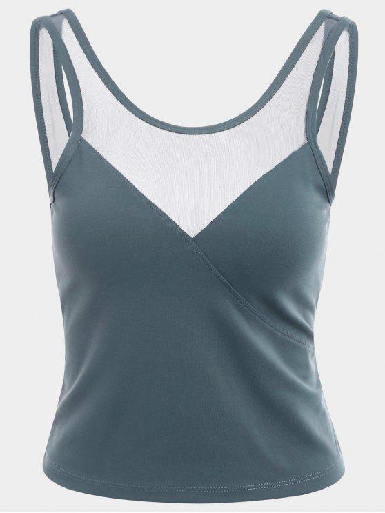 Camisola de alças desportiva Backless do painel de malha - Azul Cinza L