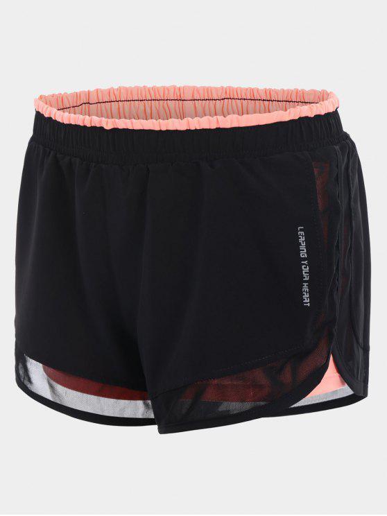 fancy Mesh Double Layered Running Shorts - ORANGEPINK M