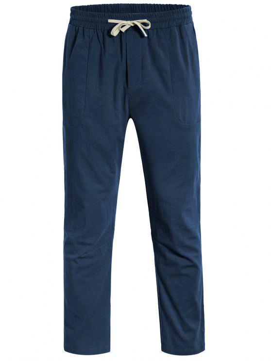 Casual Pockets Drawstring Pants - Bleu Cadette 3XL