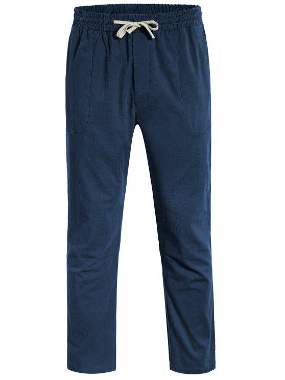 lady Casual Pockets Drawstring Pants - CADETBLUE 3XL