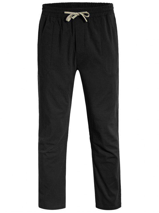 Casual Pockets Drawstring Pants - Noir L