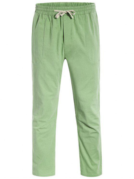 Casual Pockets Drawstring Pants - Vert clair L