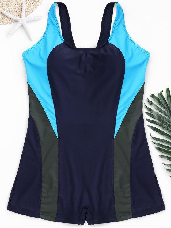 chic Cut Out Color Block Plus Size Swimwear - PURPLISH BLUE 2XL