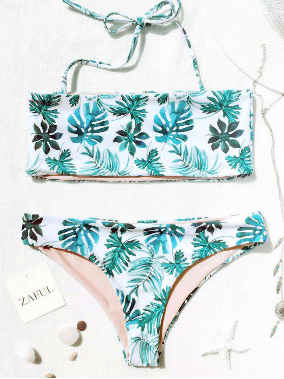 Conjunto de bikini Bandeau tropical de hoja de palma - Blanco y Verde S