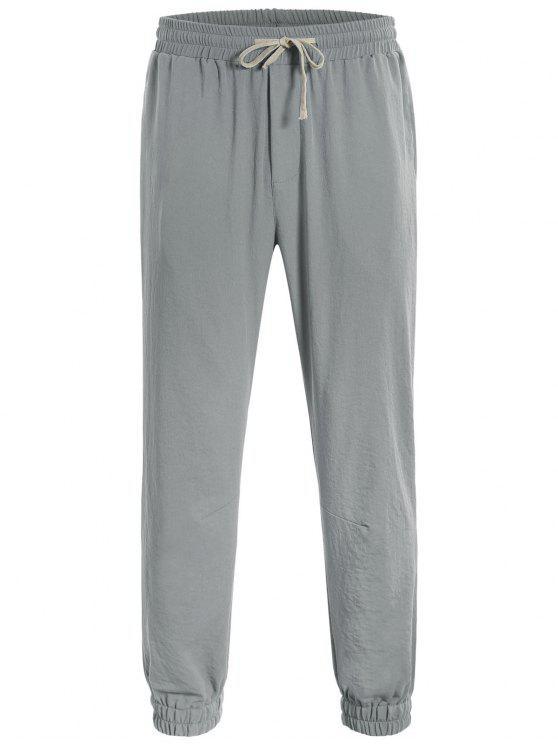 best Men Drawstring Jogger Pants - GRAY L