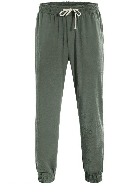 unique Men Drawstring Jogger Pants - LIGHT GREEN 2XL