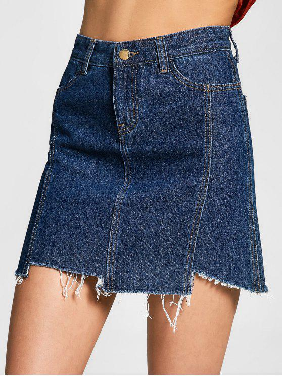 outfits Asymmetrical Denim Cutoffs Skirt - DENIM BLUE L
