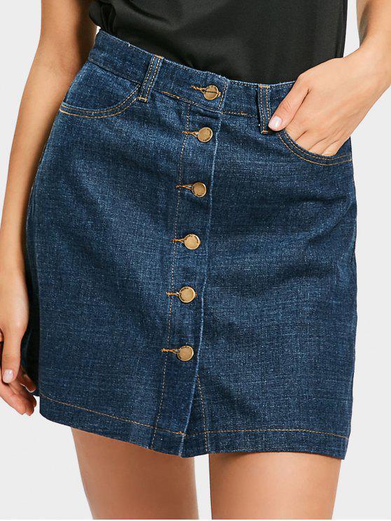 latest Mini Button Up Denim Skirt - DENIM BLUE L