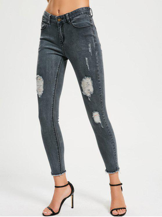 Skinny Destroyed Pencil Jeans - Gris Bleuté 28