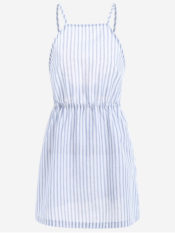 sale Open Back Striped Cami Dress - LIGHT BLUE XL