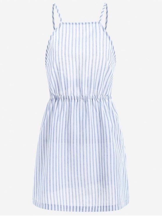 sale Open Back Striped Cami Dress - LIGHT BLUE XL