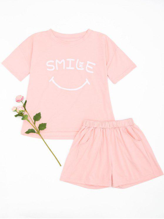 women's Cute Smile Top with Shorts Loungewear - PINK L