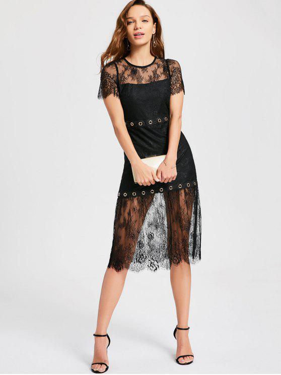 chic Sheer Metallic Grommet Lace Dress - BLACK M