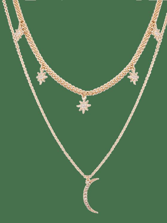 Strass Sonne-Mond Layer Anhänger Halskette - Golden