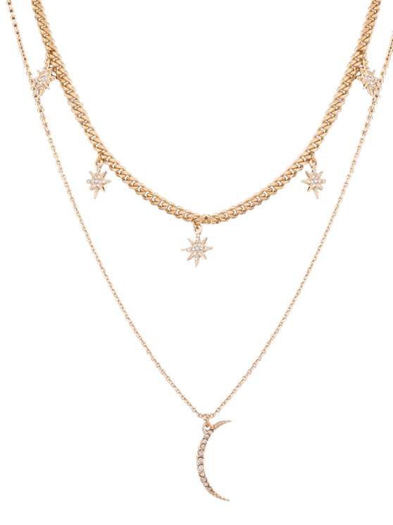 women's Rhinestone Moon Sun Layered Pendant Necklace - GOLDEN