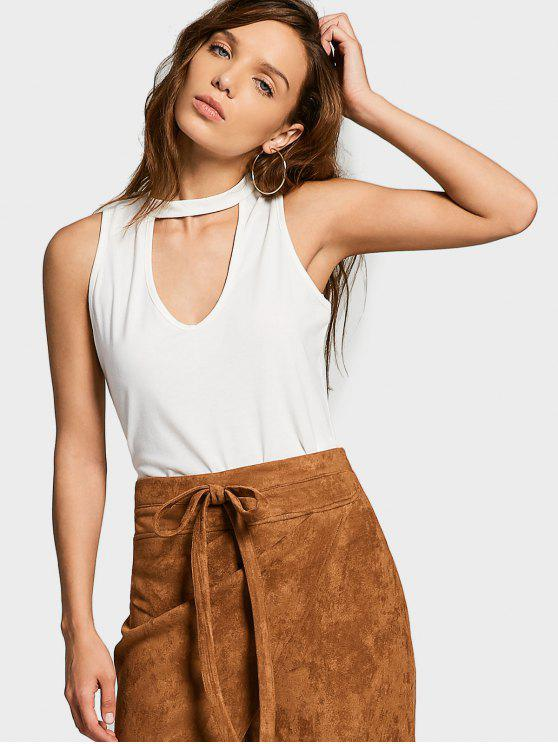 new Cotton Cropped Choker Tank Top - WHITE L