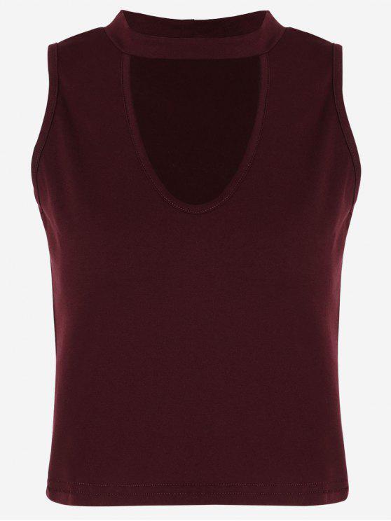 Camiseta sin mangas de algodón recortada - Vino Rojo L
