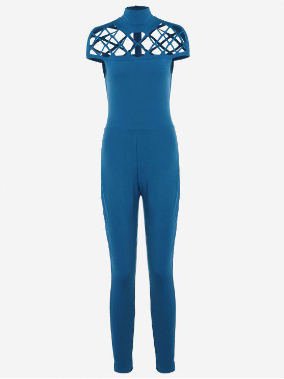 fashion High Neck Cut Out Jumpsuit - BLUE L