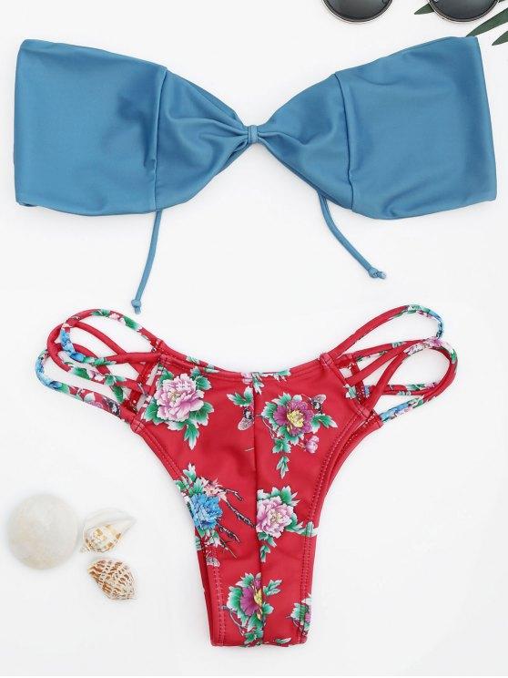 women Strappy Floral Bandeau Bikini Set - RED S