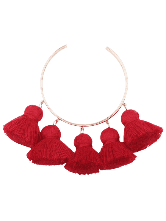 unique Alloy Charm Tassel Cuff Bangle Bracelet - RED