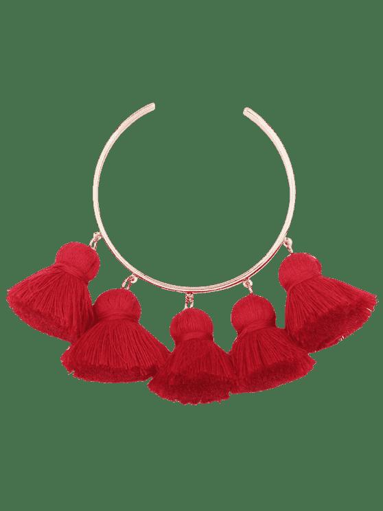 unique Alloy Charm Tassel Cuff Bangle Bracelet - RED
