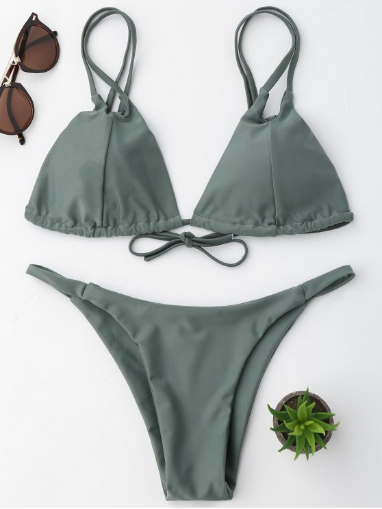 affordable String Bikini Set - SAGE GREEN L